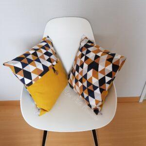 coussin géométrique jaune noir gris les ptits coussins