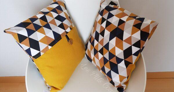 coussin géométrique jaune moutarde les p'tits coussins
