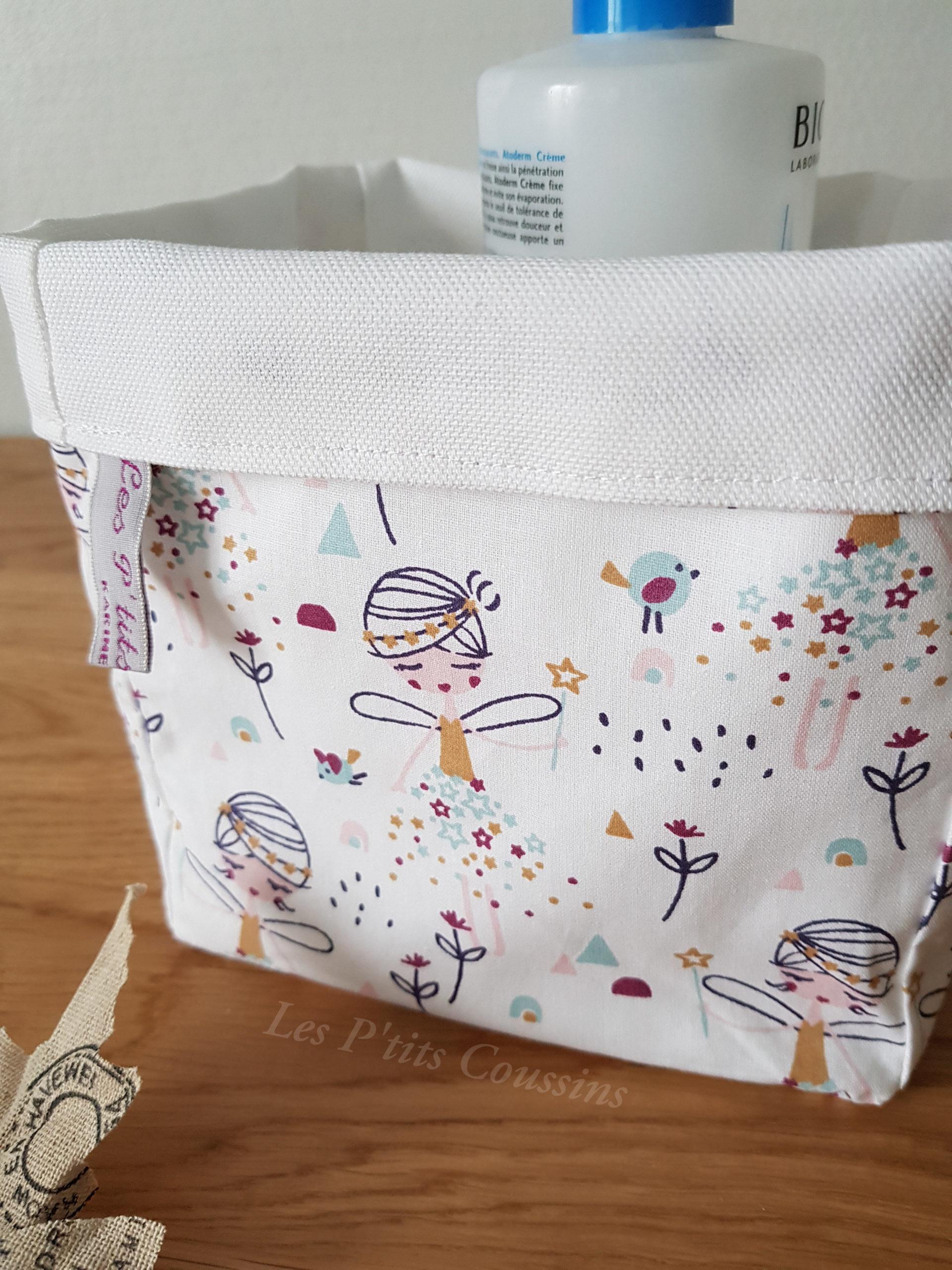 Panière de rangement motifs petites fées - La Boutique Les Ptits Coussins