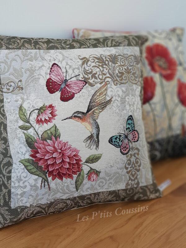 coussin colibri hortensia les p'tits coussins