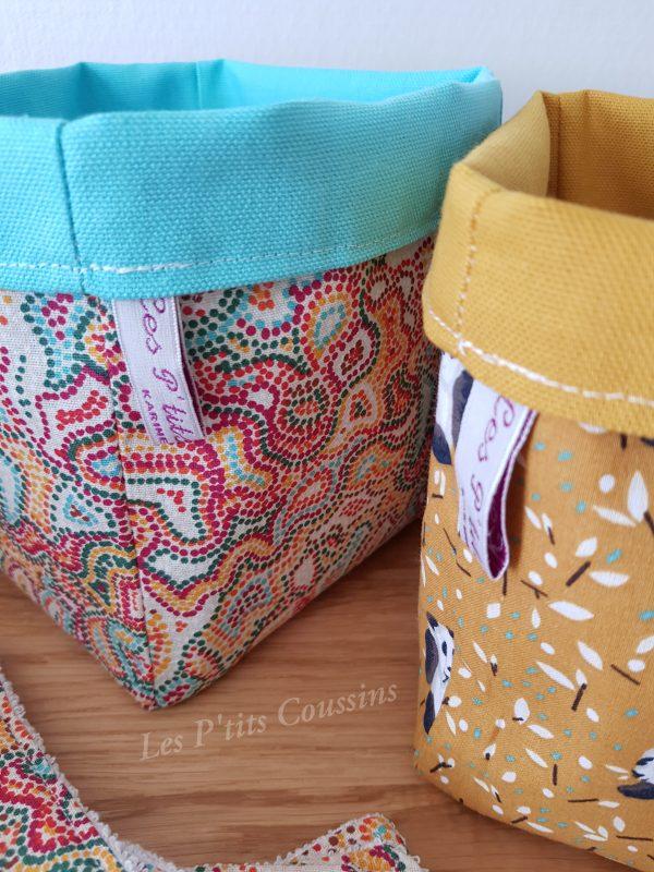 panière motifs colorés les p'tits coussins