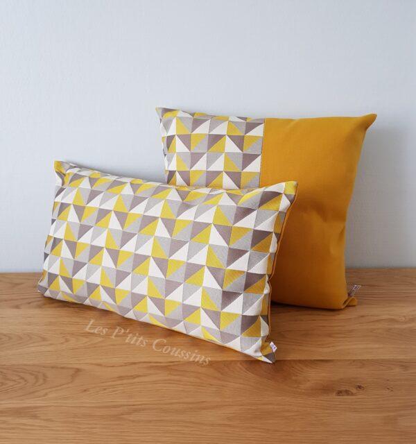 coussin géométrique jaune moutarde les ptits coussins