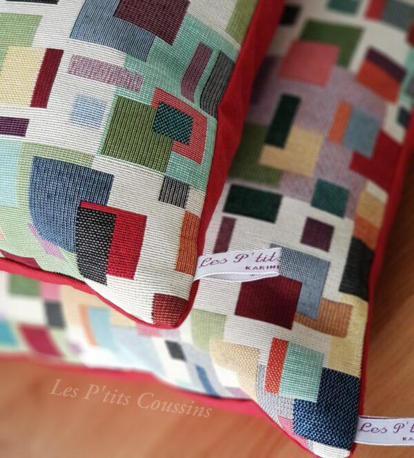 détail coussin multicolore les ptits coussins